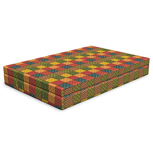 Lunarable Patchwork Dog Bed, Different Geometric Patterns Combined Together with Stitch-Like Ornamentation, Durable Washable Mat with Decorative Fabric Cover, 48