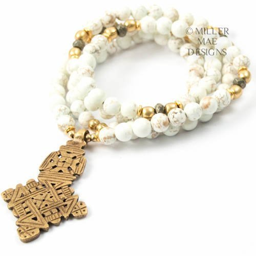 White Magnesite Ethiopian Cross Necklace - 33 inches Long Beaded Necklace Handmade by Miller Mae Designs