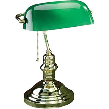 Lite Source LS-224PB Banker's Lamp, Polished Brass with Green Glass Shade