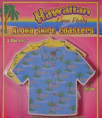 Forum Novelties Hawaiian Luau Party Aloha Shirt Drink Coasters