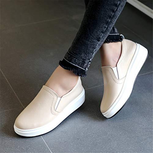 Bateau Femmes Beige Slip Véritable Sur Appartements Bout Chaussures Baskets Rond Femme En Décontractées Plateforme Cuir Mocassins Hx4qw6aHB