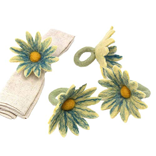 Global Groove Daisy Napkin Rings - Set of Four Midnight (T)