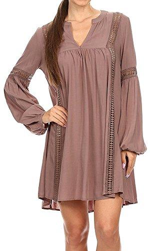 THE SANG Women's Casual Plain Simple Bohemian Boho Cut Out Distressed Ruffle Long Sleeves V-Neck Loose Blouse Dress