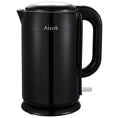 Aicok Wasserkocher Edelstahl 2200 Watt, 1,7L, Cool-Touch Kabellos Wasserkocher Doppelwandig, Schwarz