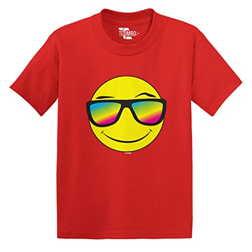 Smiley Face With Neon Sunglasses Toddler/Infant T-Shirt (Red, - Smiley Glasses Face