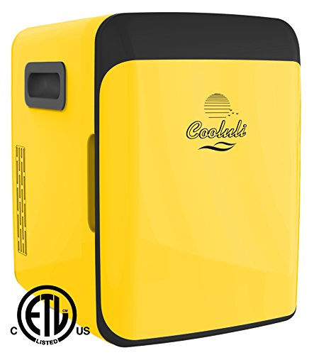 Cooluli Electric Cooler and Warmer (10 Liter / 12 Can): AC/DC Portable Thermoelectric System (Yellow)