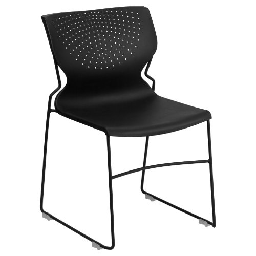 Flash Furniture HERCULES Series 661 lb. Capacity Black Full Back Stack Chair with Black Frame by Flash Furniture