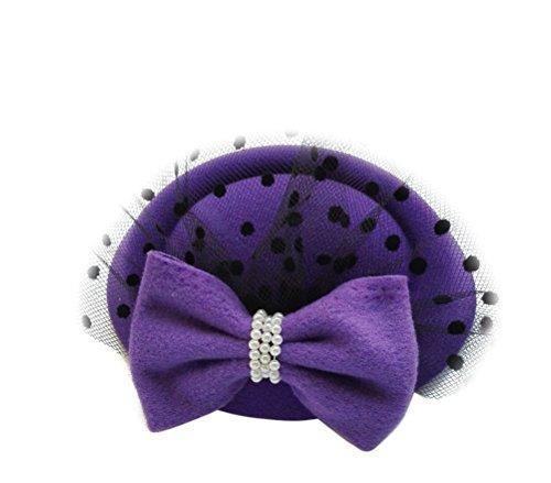 [Women's Fascinators Hat Pillbox Hat Cocktail Party Hat with Veil Hair Clip (Purple)] (Ganster Hat)
