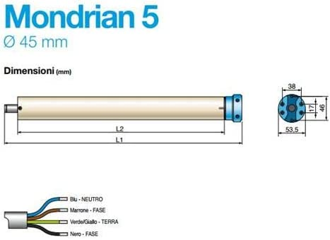 came kit Mondrian 5/Motor tubular persianas automatizaci/ón Pantallas cortinas de sol l/ápices Mec/ánico
