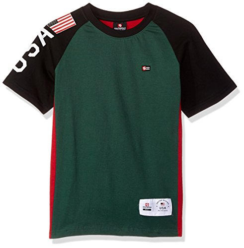 Short Sleeve Logo Raglan T-shirt - Southpole Big Boys' Colorblock Short Sleeve Fashion Tee (Age 8-20), Green(Raglan), Large
