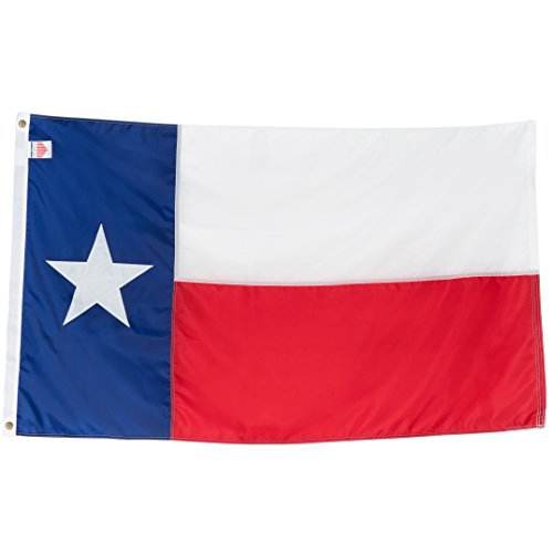Texas State Flag 4x6 Heavy Duty TX Flag - 100% Made in USA Flags - Appliqué Nylon Lone Star Banner, Quadruple Stitched Fly End, Outdoor & Weather-Resistant, Vibrant, Brass Grommets