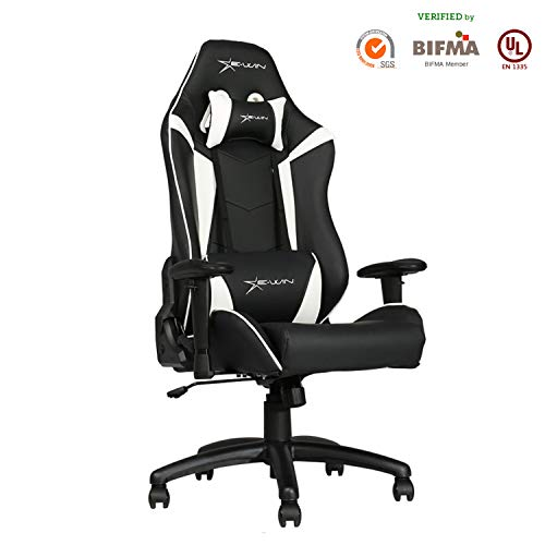 Ewin Gaming Office Chair Memory Foam 2D Adjustable Armrests Nylon Base Ergonomic High-Back Racing Executive Computer Chair Knight Series White