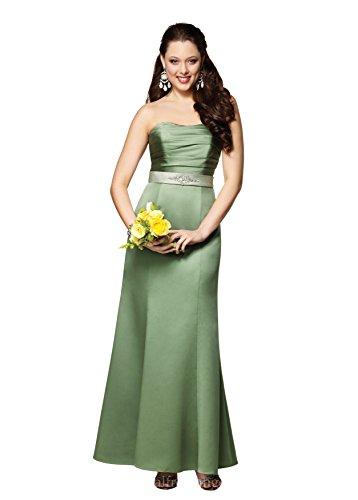 Alfred Angelo 7134 Strapless Rhinestone Belt Long Mermaid Satin Formal Dress (8, (Alfred Angelo Formal Dress)
