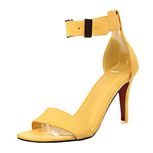 Hebilla Sandalias peep Correa metal tobillo amarillas mujeres de HooH toe para de BwrqRaB