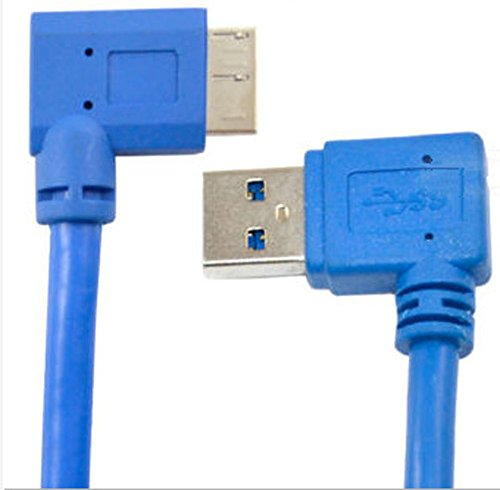 30cm USB 3.0 A Male 90 Degree Left to Micro B Right Angle Short Data Sync and Charging Cable for Galaxy Note 3 N9000 N900 / S5 i9600/ Computer's Hard Drive/Digital Camera(USB3.0 L- B R,Blue