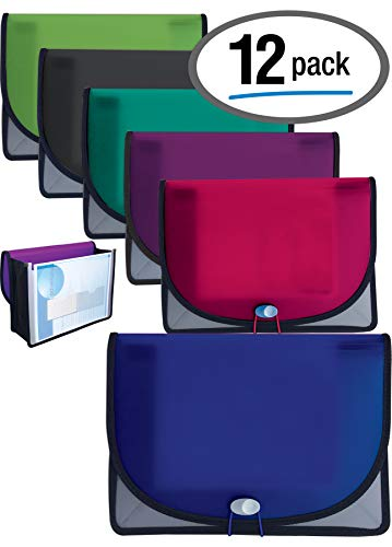 Document Case Expanding File with 3.5 inch Canvas Gusset, Archival Case, Holds Letter Size, Assorted Colors, 12 Pack