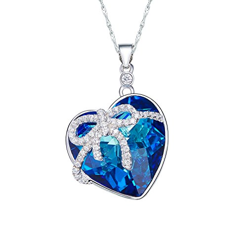 Cde Necklaces For Women  Swarovski Owl Crystal Heart Pendant Necklaces Womens Blue Ocean Heart Necklace  Gifts For Women