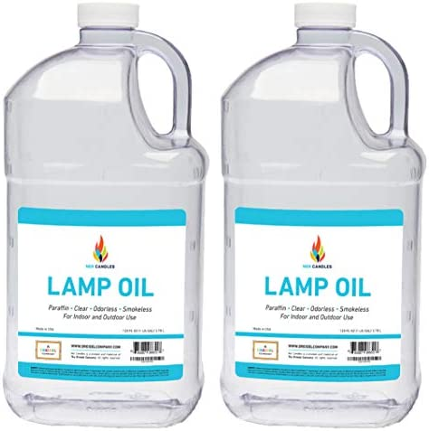 Liquid Paraffin Lamp Oil – 1 Gallon – Smokeless, Odorless, Ultra Clean Burning Fuel for Indoor and Outdoor Use 2-Pack