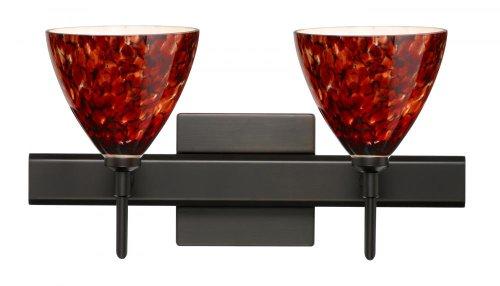 Besa Lighting 2SW-177941-BR-SQ 2X40W G9 Mia Wall Sconce with Canopy Garnet Glass, Bronze Finish