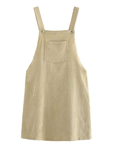 Romwe Women's Straps A-line Corduroy Pinafore Bib Pocket Overall Dress Light Khaki M