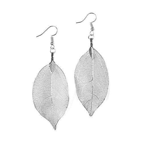 Drop Metal (RIAH FASHION Bohemian Metal Dipped Natural Leaf Earrings - Lightweight Botanical Filigree Dangle Earrings (Silver))