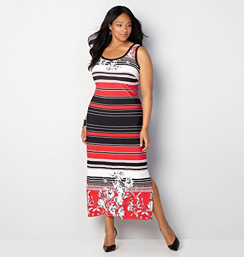 AVENUE-Womens-Flowers-and-Stripes-Maxi-Dress
