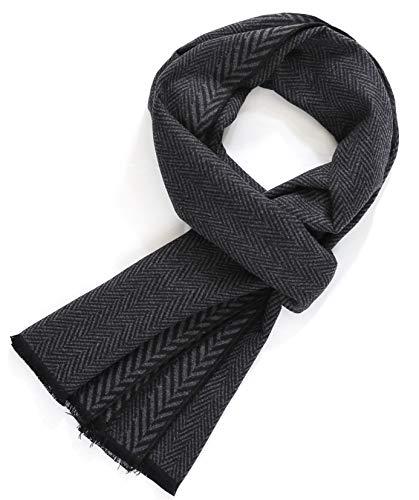 FULLRON Men Winter Scarf Cotton Cashmere Scarves, Luxurious Gift (Black)