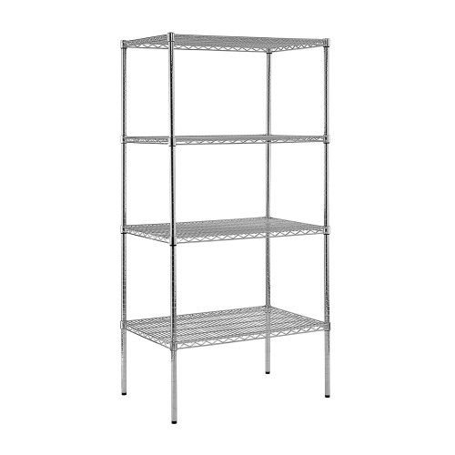 Steel Reinforced Shelving Unit - Sandusky Lee WS362474-C Chrome Steel Wire Shelving, 4 Adjustable Shelves, 800 lb. Per Shelf Capacity, 74