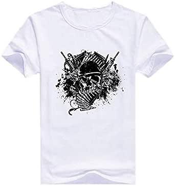 Round Neck Warrior Skull T-Shirt For Men