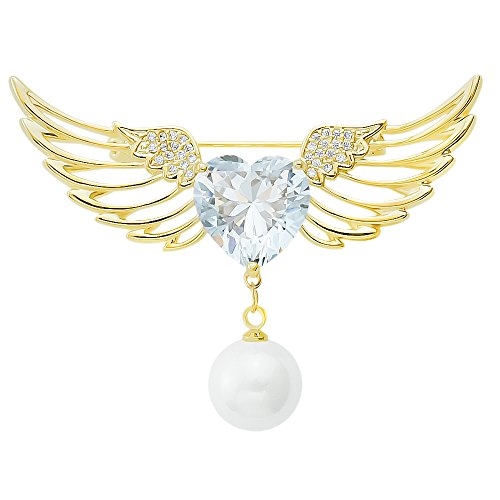 DMI Fashion Gold-Tone Alloy Rhinestone Cubic Zircon Heart with Angle Wing Simulated Pearl Brooch Pin