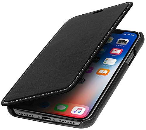 StilGut Genuine Leather Case for iPhone Xs & iPhone X, Slim Book Type Folio Flip Cover, Black Nappa