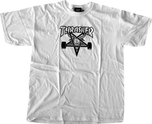 500b08caa3f2 Amazon.com : Thrasher Skategoat T-Shirt [Large] White : Clothing