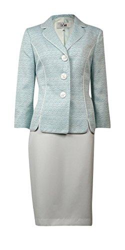 Le Suit Womens Petites The Hamptons 2PC Metallic Skirt Suit Green (Fully Lined Petite Suit)