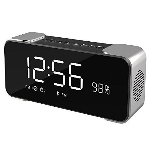 VIGROS Bluetooth Speakers Portable Wireless Stereo Hi-Fi Speaker with Alarm Clock Built-in Mic FM Radio LED Light and Hands-free HD Bass and Sound for iPhone Mac Computer, Gift