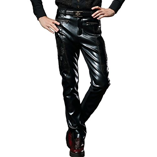 [FANZHUAN Pants Leather Men Black Leather Pants For Men Leather Pants Faux Leather Pants Mens] (Mens Disco Jumpsuit)