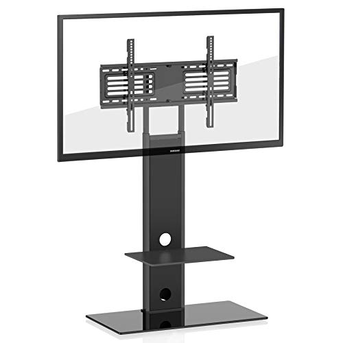 FITUEYES Universal TV Stand Swivel Mount Height Adjustable Two Shelves 32inch to 65inch TV, TT207501MB