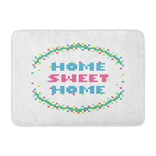 Home Sweet Home,Darkchocl Decorative Bath Mat Bright Font Cross Stitch Home Sweet Home Absorbent Non-Slip 100% Flannel 17''L x 24''W for Bathroom Toilet Bath Tub Living Room