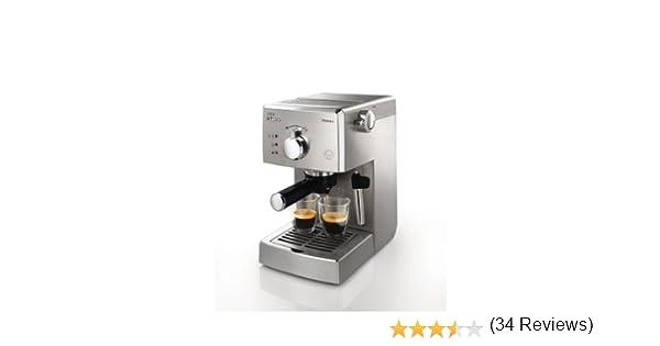 Saeco HD8327/01 - Cafetera Saeco Poemia espresso manual,950W,con Café molido y Easy Serving Espresso (E.S.E.),Bomba de 15 bares, filtro a presión para crema, superficie calienta tazas: Amazon.es: Hogar