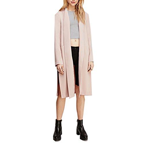 Retro Frauen-Seitentaschen Mantel Slit Split Trenchcoat Long Sleeve Mantel Jacke