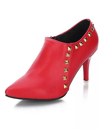 Zapatos Casual De Red Mujer Eu39 Cn39 Tacón Xzz Eu36 Semicuero us8 Botas 5 Black Vestido Negro Uk3 Cn35 Rojo Stiletto 5 Puntiagudos Uk6 us5 qd8fx