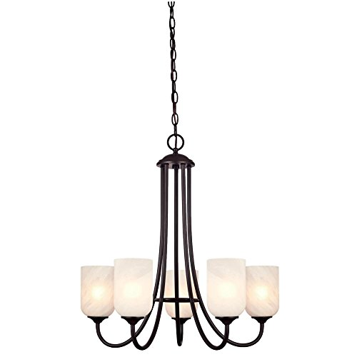 Westinghouse Lighting 6224000 Treebridge Station Five-Light Interior Chandelier, Espresso Finish with White Alabaster Glass Shades - Espresso Five Light Chandelier