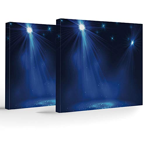 Framed Wall Art,Dark Blue,Home Decoration Stretched Gallery Canvas Wrap HP Print & Ready to Hang,Smoky Stage Disco Night Club Studio Theater Show Fame Performance
