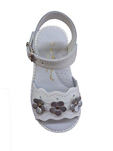 ALADINO Sandalia Piel Flores Mod 2203 blanco flor plata