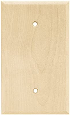 Brainerd 64662 Wood Square Single Blank Wall Plate / Switch Plate / Cover, Unfinished