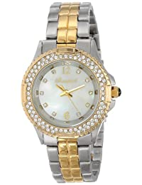Bombshell Women's BS1072-2TONE(ST./GOLD) Harmony Swarovski Crystal Stone Case 2-Tone Gold Stainless Steel Bracelet Watch
