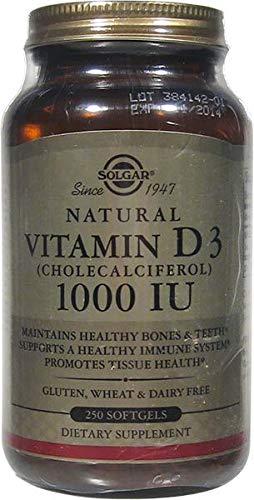 Solgar Vitamin D3 (Cholecalciferol) 25 mcg (1000 IU), Maintains Healthy Bones and Teeth, Non-GMO, 250 Softgels