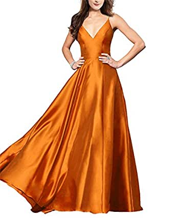 Lily Wedding Womens V-Neck Satin Prom Dresses 2019 Long