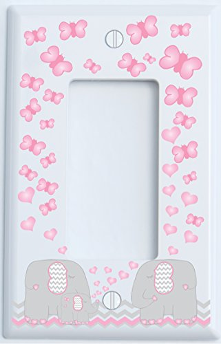 Single Rocker Pink Elephant Light Switch Plate and GFCI Outlet Covers / Elephant Nursery Decor with Grey and Pink Chevrons with Pink Hearts and Butterflies (Single Rocker / GFCI)