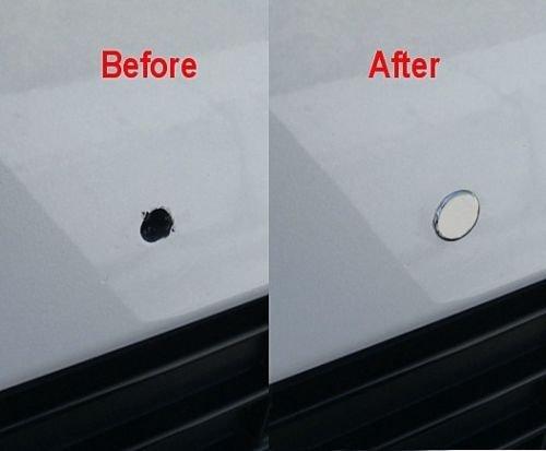 i5 LOW-PROFILE CHROME BUMPER PLUGS for 5mm Front License Plate Bracket Bolt Holes