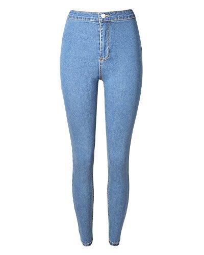 Claro Jeans Azul Lavados Mujer Alta Cintura Lápiz Skinny Vaqueros Elástico Pantalon Denim Flacos Pantalones qxnwCTF1a